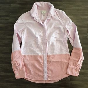 J crew pink shirts women 2 color block bttn down